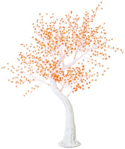 Arclite Nbl-200-4 Cherry Blossom Tree With Leaves, 7' Height, With White Trunk, Red Crystals And Red Lights
