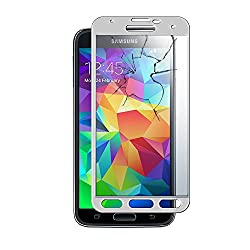 MoArmouz® Super Tempered Glass Screen Protector for Samsung S5 - 9H Hardness Toughened - Scratch Resistant Screen Guard - Guaranteed Protection / HD / 3D Touch Compatible / Mobile Accessories / Screen Protectors / Mobiles & Tablets (Silver)
