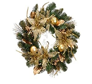 "24"" Gold Poinsettia, Ball and Berry Pine Artificial Christmas Wreath - Unlit"