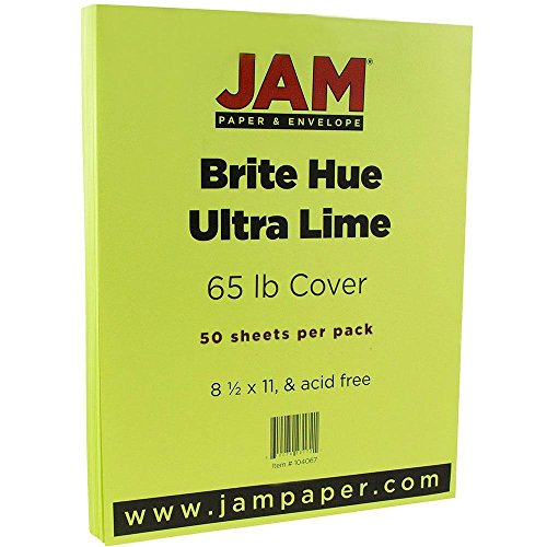 jam-paper-bright-colored-cardstock-85-x-11-65-lb-brite-hue-ultra-lime-green-50-sheets-per-pack