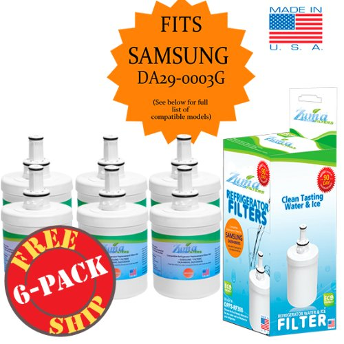 (6-Pk) Samsung DA29-00003A-B Compatible Refrigerator Water and Ice Filter by Zuma Water Filters