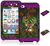 Bastex Heavy Duty Hybrid Case for Touch 4, 4th Generation iPod Touch – Purple Silicone / Deer Camo Design Hard Shell