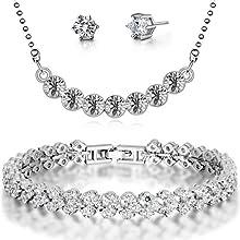 Floray 1336swc - Set de joyas collar, pendientes y pulsera, cristales transparente, con circonita, oro blanco plateó