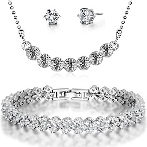 FLORAY Donna o Ragazza Pendente della collana e del braccialetto e orecchini Gioielli Parure.Cristalli trasparente.