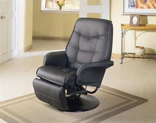 MAN CAVE Black Leatherette Modern Recliner - Great for RVs and Boats!