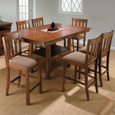 Jofran Saddle Brown Rectangular Counter Height Dining Table And 6 Chairs    JSI328   Product Reviews, Buying Guides, And Consumer Advice