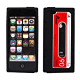 COCO FUN New Classic Cassette Tape Silicone Soft Back Skin Case Cover Protector For iPhone 5 5G + Clear Flim Screen Protector, Black