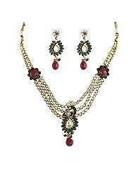 Crunchy Fashion Kundan Work Peacock Necklace Set