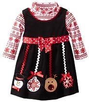 Bonnie Baby Girls Newborn Ornament Applique Corduroy Jumper Set, Red, 3-6 Months