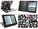 Emartbuy New Ipad 3 & Apple Ipad 2 Multifunctional / Multi Angle Wallet / Cover / Stand / Typing Case Spotted Hearts (All versions Wi-Fi and Wi-Fi + 3G/4G - 16GB 32GB 64GB)
