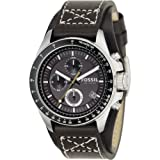Fossil Fossil Men's Stainless Steel Chronograph Watch with Genuine Brown Leather