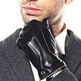 Luxury Men's Touchscreen Texting Winter Italian Nappa Leather Dress Driving Gloves (Cashmere or Wool Lining)