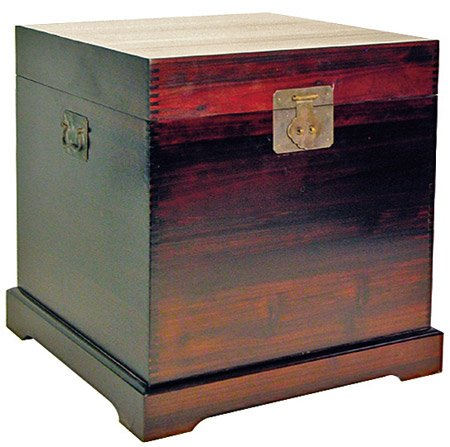"""Unique Simple Japanese Chinese Asian Look Accent Furniture - 23"""" Buda End Table Chest Night Stand Trunk w/ Cherry Finish"""