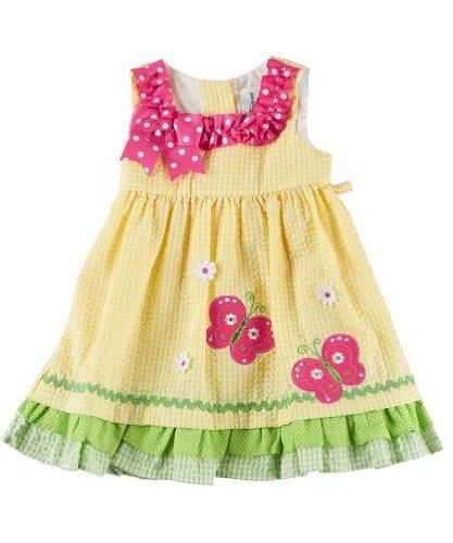 Rare Editions Baby Girls Seersucker Dress Outfit Leggings , Yellow , 18M