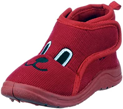 Playshoes Hausschuh Klettverschluß 204702, Pantofole unisex bambino, Trasparente (rot (rot8)), 28/29