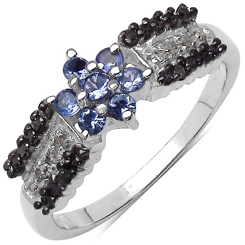 0.40CTW Genuine Tanzanite Black & White Diamond .925 Sterling Silver Ring (multicolor)