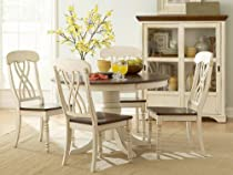 Hot Sale Homelegance Ohana 5 Piece Round Dining Table Set in Antique White and Warm Cherry