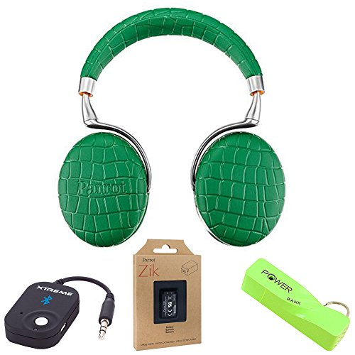Parrot Zik 3 Wireless Noise Cancelling Bluetooth Headphones with Microphone, Keychain and Power Bank - Emerald Green Croc