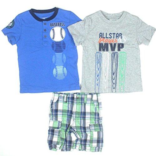 Kids Headquarters Boys 3-Piece Tee/Henley/Shorts 6 Grey/Blue front-889744