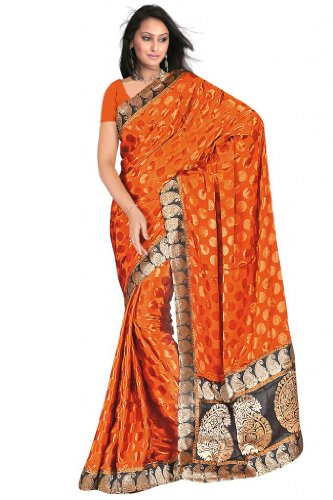 Sehgall Sarees Handloom Brocket Border And Pallu Attached With Polka Dot Crape Satin Orange Saree