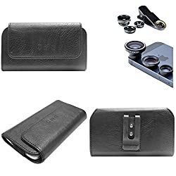 DMG Durable Cell Phone Pouch Carrying Case with Belt Clip Holster for Apple iphone 4 4S (Black) + 3in1 Fisheye Wide Angle and Macro Lens