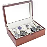 Vintage Wood Watch Case Holds 10+ Watches with Glass Top Lid and High Clearance for Large Watches