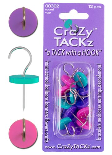 Crazy Tackz The Tack with a Round Designer Hook, Vibrant Violet/Green/Pink