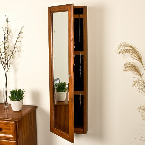 Southern Enterprises Wall-mount Jewelry Mirror W/ Plantation Oak Finish