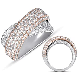 14K Two Tone Gold 2.56cttw Round Diamond Fashion Ring