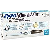 Expo Vis-A-Vis Wet-Erase Overhead Transparency Markers, Fine Point, Black, Dozen (SAN16001)