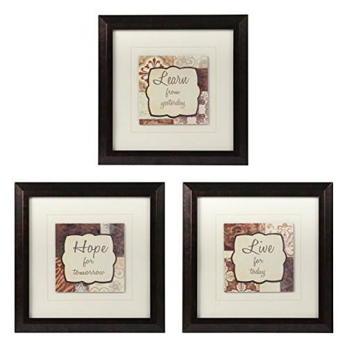 Set Of 3 Learn Live Hope Framed Wall Art Décor Inspirational Motivational Words (Inspirational Art Framed compare prices)