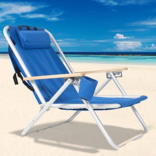 Backpack Beach Chair Folding Portable Chair Blue Solid Construction Camping New (Construction Drawings Carrier compare prices)