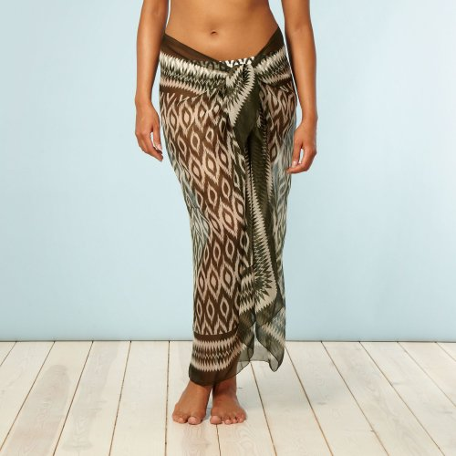 Beach Collection Khaki Ikat Patterned Sarong