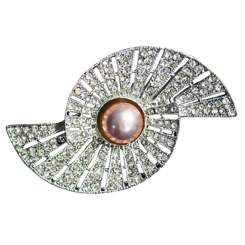 Pearl Brooch --Dazzling Sectorial Pearl Brooch with High-quality Emulational Zircon (Br0093)