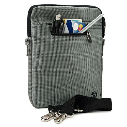 Silver Gray Mighty Nylon Jacket Slim Compact Protective Sleeve Shoulder Bag Case with accessories For Acer Iconia Tab A501-10S16u A501-10S32u 10.1-Inch HD Tablet PC Computer TouchScreen High Performance with Keyboard