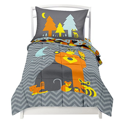 twin-reversible-woodland-creature-comforter-set-with-1-pillowcases-for-kids-bedding-double-brushed-u