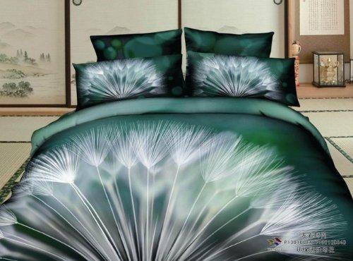 Queen Size 100% Cotton 4-Pieces 3D White Dandelions Green Floral Prints Duvet Cover Set/Bed Linens/Bed Sheet Sets/Bedclothes/Bedding Sets/Bed Sets/Bed Covers/5-Pieces Comforter Sets (4) front-1035986