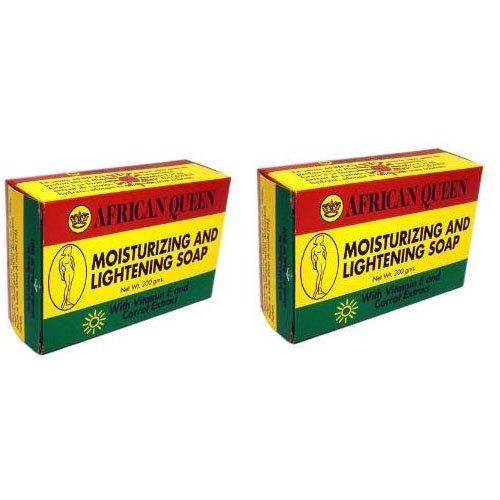 African Queen (Pack Of 2) Moisturizing And Lightening Soap With Vitamin E And Carrot Extract