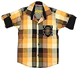CAY 100% Cotton Rust Color Designer Block Checks shirt (Size:S)