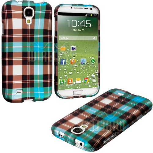 """Mylife (Tm) Light Blue Plaid Checkered Series (2 Piece Snap On) Hardshell Plates Case For The Samsung Galaxy S4 """"Fits Models: I9500, I9505, Sph-L720, Galaxy S Iv, Sgh-I337, Sch-I545, Sgh-M919, Sch-R970 And Galaxy S4 Lte-A Touch Phone"""" (Clip Fitted Front A"""