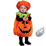 いろいろハウス ハロウィン 子供用コスプレ ジャックオーランタン かぼちゃ プルオーバー&帽子 パンプキンキッズ かぼちゃの衣装 仮装 パーティやイベント・写真に最適 フィンガーライトのおまけ付 la010017b01
