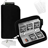 Memory Card Carrying Case - Suitable for SDHC and SD Cards - 8 Pages and 22 Slots - ECO-FUSED Microfiber Cleaning Cloth Included (Black)