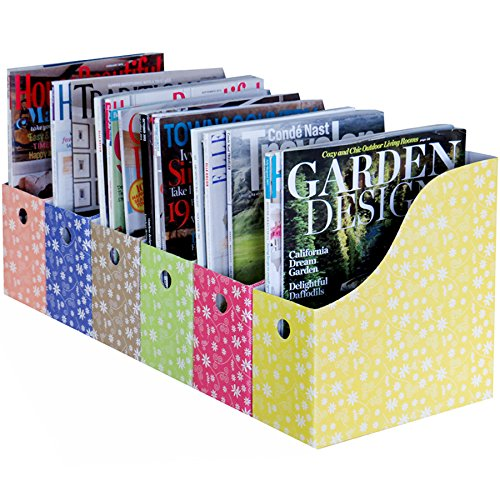 Evelots 6 Magazine/File Holders & Adhesive Labels,Assorted Colors & Styles,Floral
