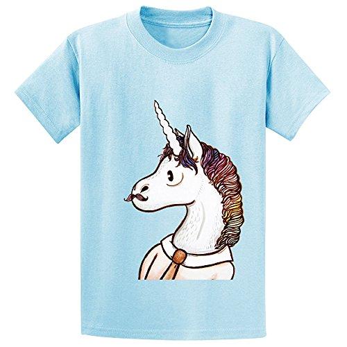 Snowl Doctor Unicorn Unisex Crew Neck Print Shirts L-blue