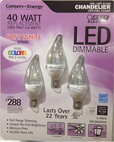 Feit Led 4.9 Watt Led Candelabra Light Bulbs 3-Pack (Equiv To 40 Watts) 2700K Color