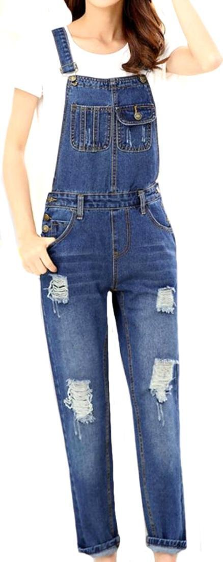 Yayu Women Fashion Denim Trousers Vintage Hole Overalls 0