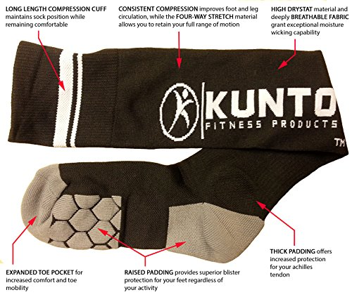 Graduated Compression Socks By Kunto Fitness - Reduce Leg Pain & the Appearance Of Varicose Veins - Increase Circulation (Extra Large)
