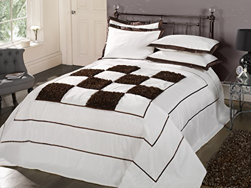 Modernes luxueux été d'hiver pour lit double et lit king size-Couvre-lit matelassé de bali Lot de 2 couvre-lit Motif roses Marron chocolat blanc cassé-Crème - 102 X 102 cm