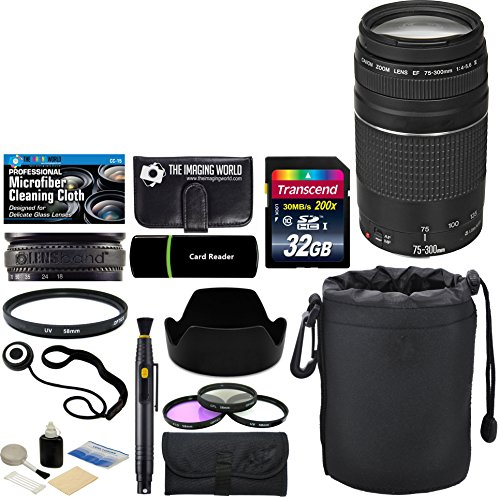 Canon EF 75-300mm f/4-5.6 III Zoom Lens + 32 GB Card + Pouch + Hood + Band + Filters + Massive Bundle
