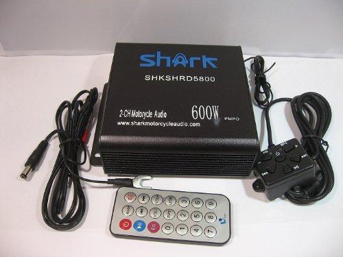 Shark Shkamp5800 Mini Car Motorcycle Snowmobile Atv 600 Watt Amplifier W/ Radio & Wired /Wireless Remote Black